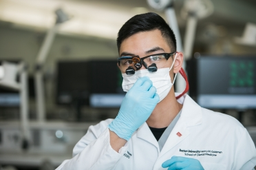 6/26/19 - Boston, MA. Boston University Dental student Jordan Yee (DMD'20) demonstrates techniques at the Simulation Learning Center. Photo by Janice Checchio for Boston University Photography