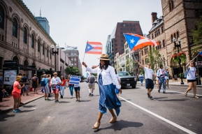 7/29/18 - Boston, Massachusetts. Ayanna Pressley during 2018 Puerto Rican Festival Parade. Photo copyright Janice Checchio.